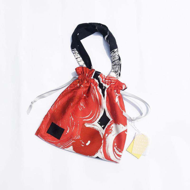 Hand print Drawstring bag 07(S)
