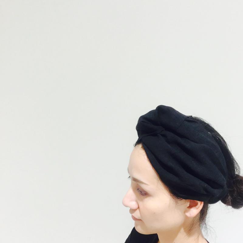 linen幅広ヘアバンド・ブラック [itone.]