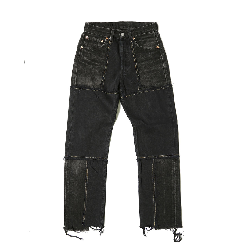 【CNLZ】Vintage Remake Patchwork Denim Pants/シーエヌエルゼット ヴィンテージ リメイクパッチワークデニムパンツ