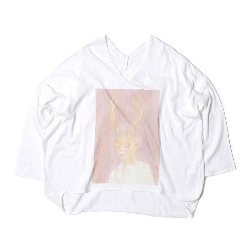 先行予約【Mai Kurosaka×CNLZ】黒坂麻衣コラボ 角の生えた少年 Relax cut カットソー