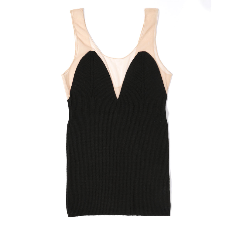 【babaco】cashmere rib tank-top with tulle /ババコ カシミアリブ×チュール タンクトップ