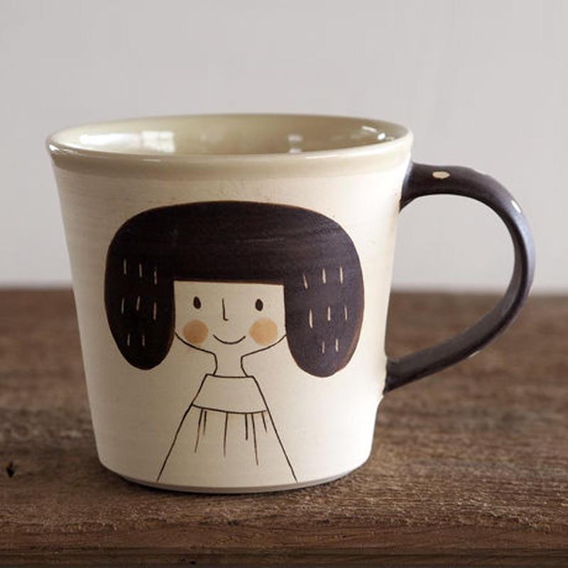 増永 典子 女の子マグカップ 白 1