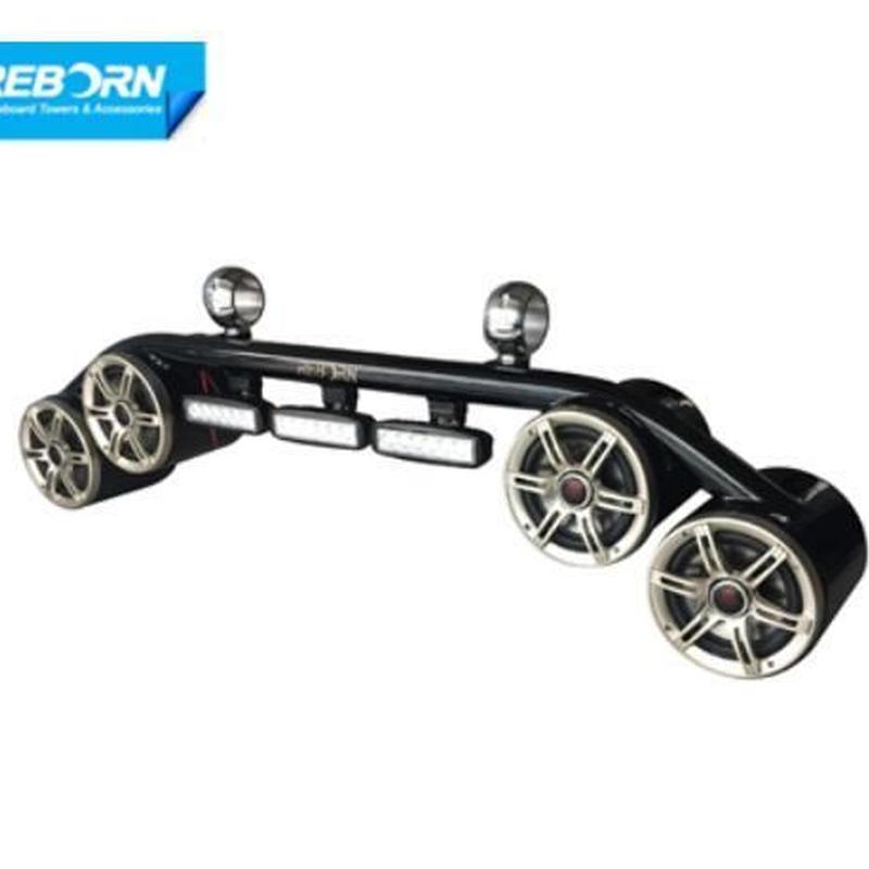 ウェイクボード スピーカーLEDライト コンボ ブラックコーティング 4スピーカー