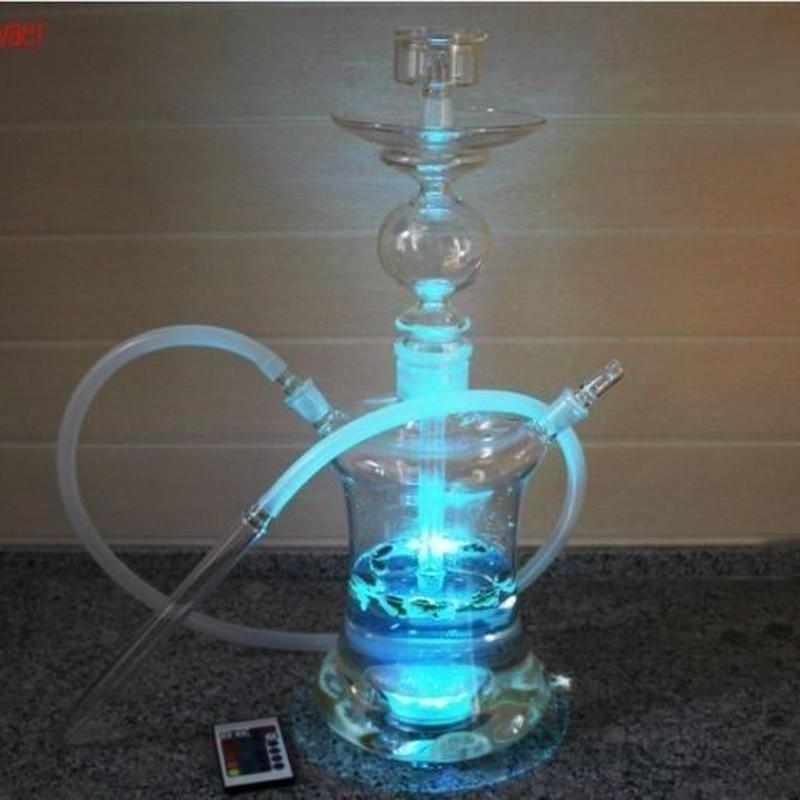 水タバコ シーシャ ナルギレ フッカー 喫煙具 ガラス製52cm LED照明で16色に光る!ムーディーな水ギセル セット おしゃれ