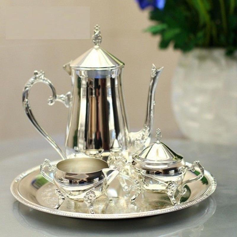 銀メッキ コーヒーティーセット プレート 瓶 シルバー 光沢 結婚式 パーティー