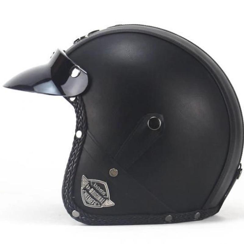 高級 レザー ヘルメット 7色 アメリカン カフェレーサー ジェットヘルメット 高級レザー ゴーグル無し バイザー バイカー モトクロス