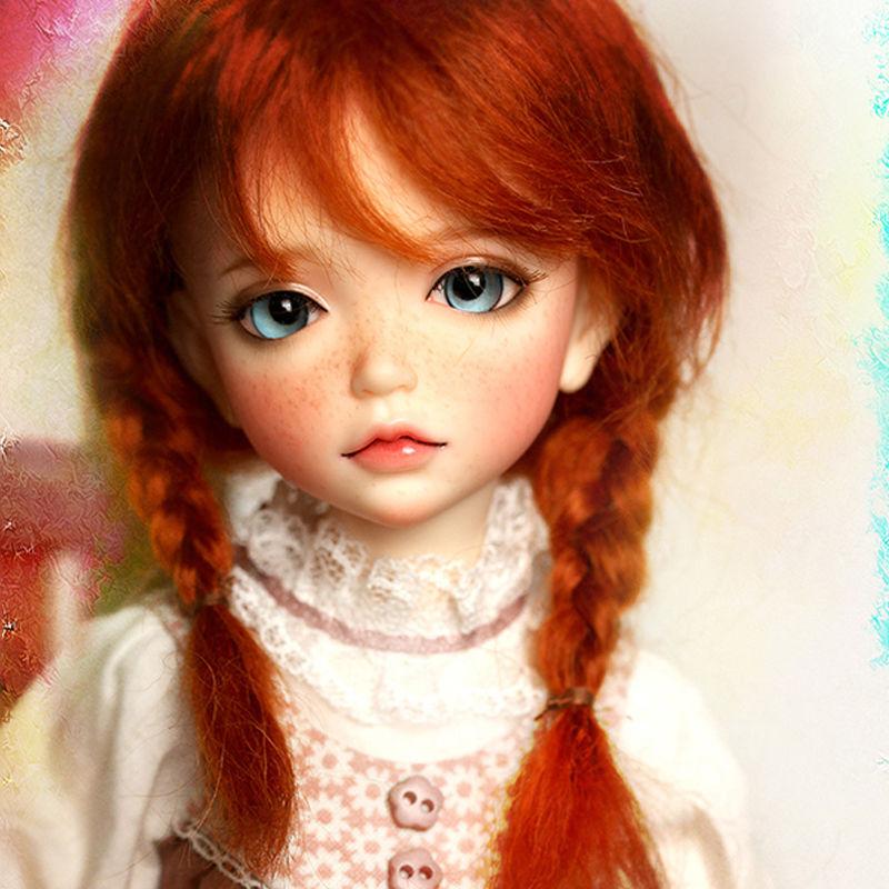 球体関節人形 本体+眼球+メイクアップ済 BJD カスタムドール 女の子 かわいい そばかす ラブリー人形 幼SDサイズ 1/6