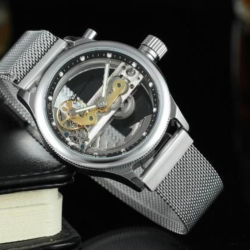 メンズスケルトンデザイン 自動機械 高品質ステンレスブレスレット腕時計 スタイリッシュメンズウォッチ