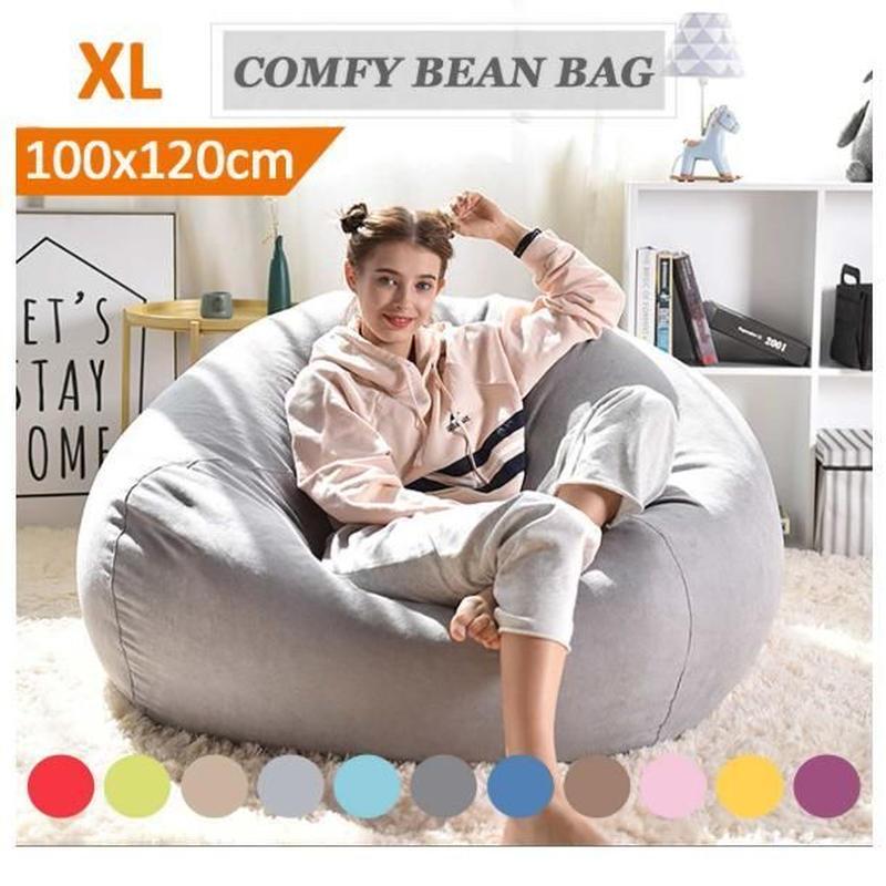リビング 昼寝 快適 フィット ソファー 豆袋 カバーセット 8色 XLサイズ 100×120 cm 洗濯可