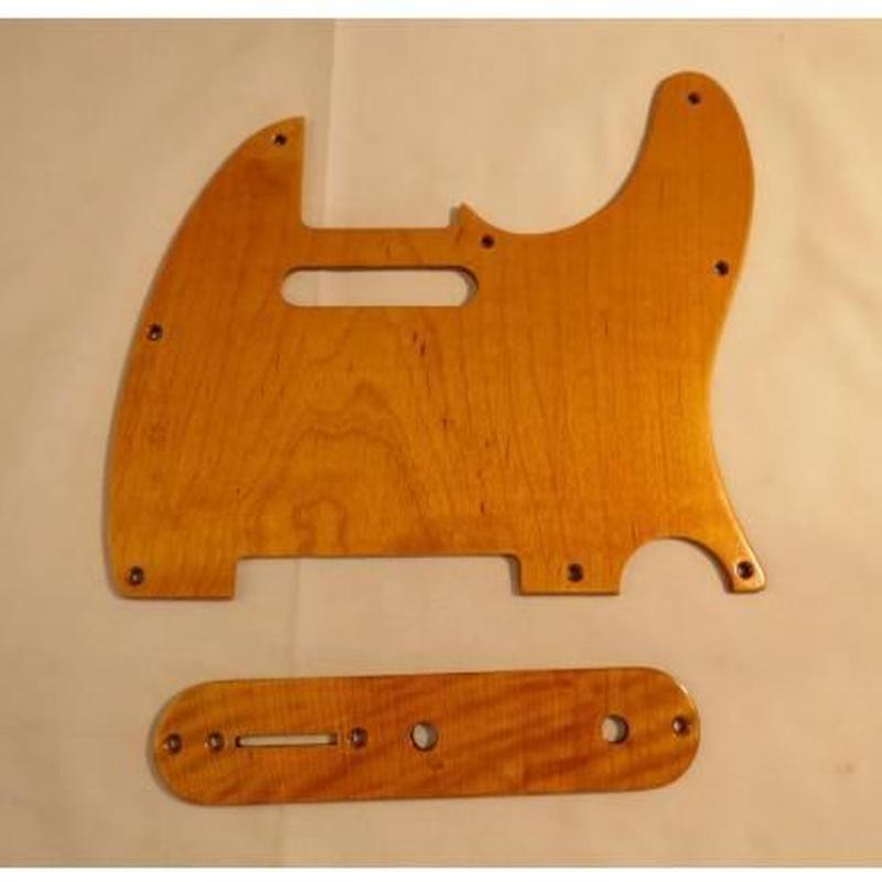 テレキャスターピックガード+コントロールプレートメープル製木製ピックガード擦れがかっこいい
