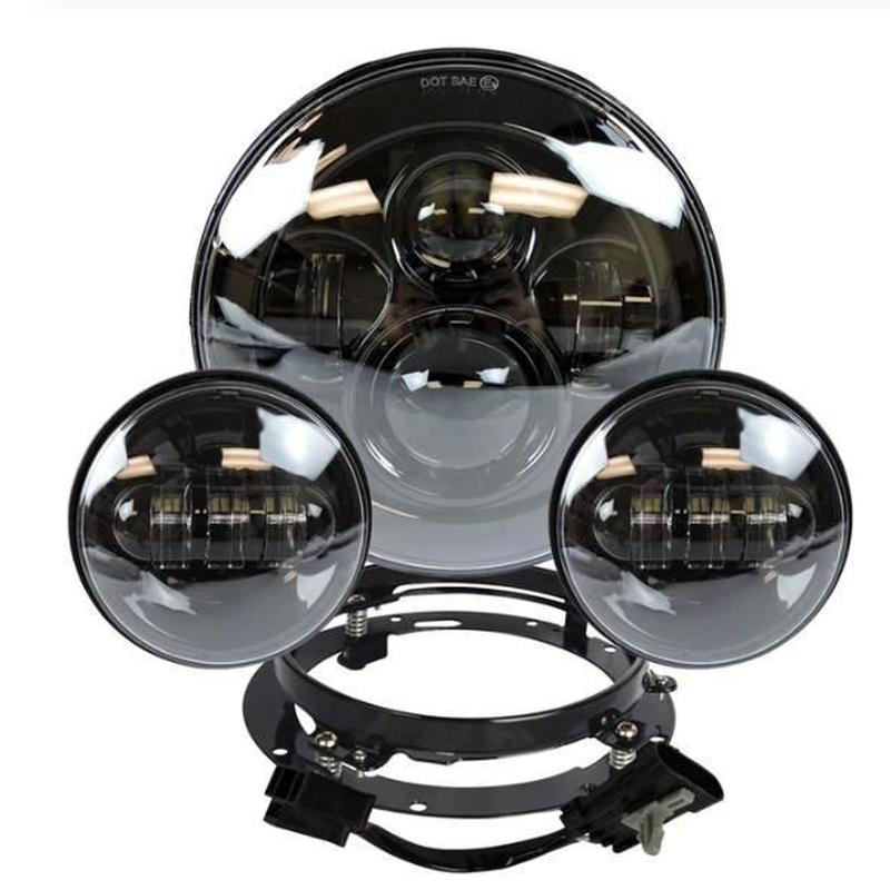 ハーレー LEDヘッドライト 7インチ ブラック パッシング 左右 フォグライト2個 ヘッドライト取付リングブラケット付き フルセット