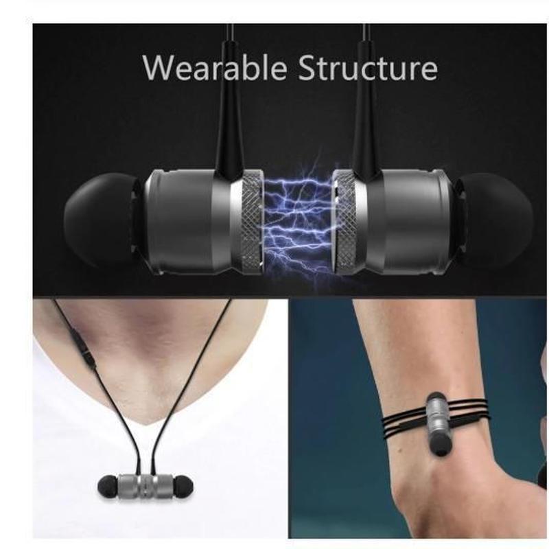 骨伝導イヤフォンbluetoothヘッドフォンマグネットの磁力によりコンパクトにまとまるノイズリダクション