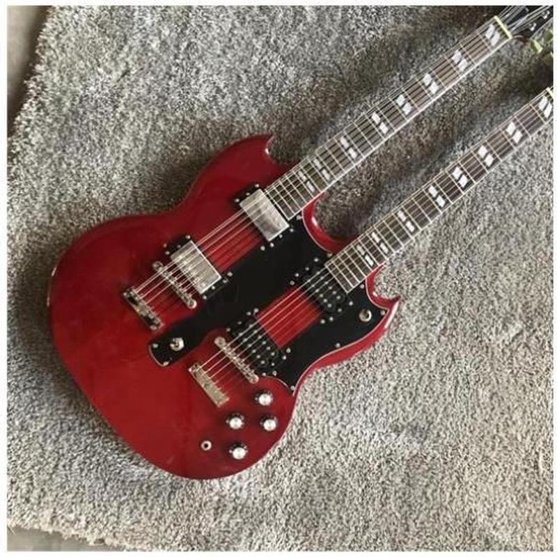 エレキギター 40インチ ダブルネック 本体 ケース セット レッド 楽器 バンド 新品