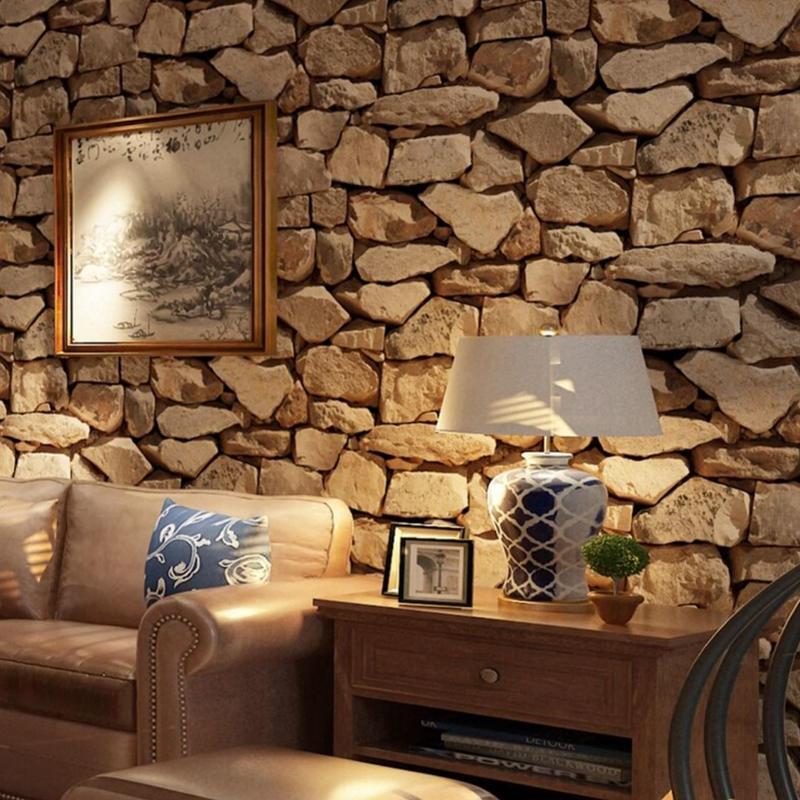 3D 壁紙 53×1000㎝ ヴィンテージ 石レンガ PVC 防水 カビ対策 おしゃれクロス インテリア 装飾 寝室 リビング