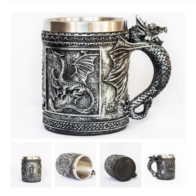 ビールジョッキ マグカップ ステンレス がいこつ ドラゴン 龍 保冷 保温 おしゃれ食器 高級装飾 贈り物
