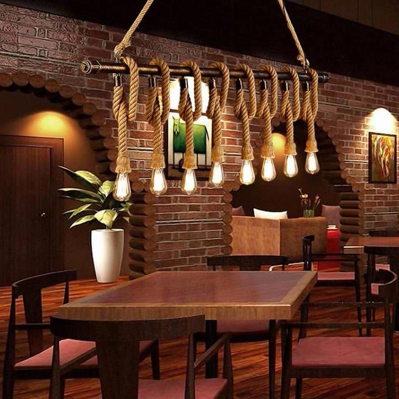 麻 ロープ ペンダントライト 吊り下げ ヴィンテージ インテリア 装飾 天井 照明器具 ランプ オシャレ カフェ