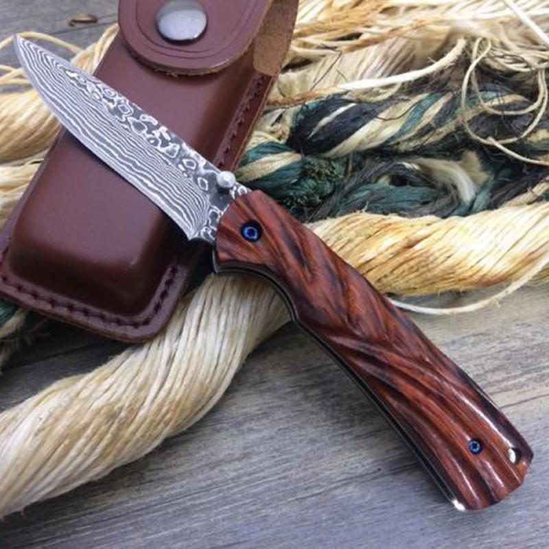 ミニポケットナイフ小さな木製のハンドルキーチェーンナイフポータブルEDCツールの狩猟ナイフサバイバル折りたたみナイフダマスカス刃