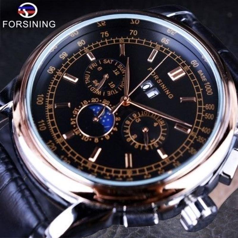 Forsining メンズ腕時計 ムーンフェイズ 自動巻き 機械式 レザーストラップ高級モデル ヨーロッパ人気モデル 日本未発売