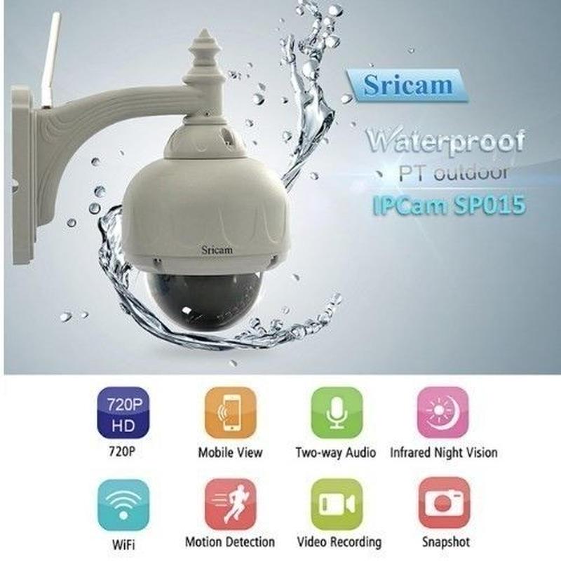 屋外防水防犯監視 Wifi ワイヤレスIPネットワークカメラ チルト パン 高画質HD720p 赤外線IR LED付