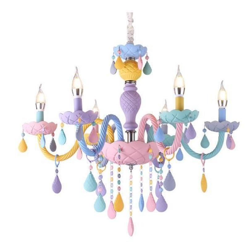 キャンドルシャンデリア マカロンカラー E14 led 天井照明 子供部屋 寝室 カフェ 飲食店 ホテル