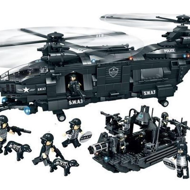 レゴ互換 SWAT部隊 輸送ヘリ他 豪華セット ヘリコプター 軍隊 警察特殊部隊 LEGO互換