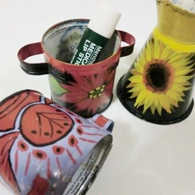 【送料無料!!】カポカ(練乳カン)アフリカマダガスカルポップアートペイントミニ小物入れ なべ型・ピッチャー型