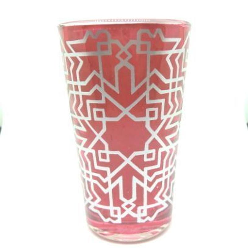 モロッコ プリントグラスコップ 赤(レッド)8cm×5cm