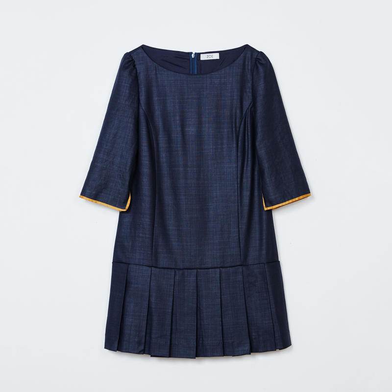 pleated mini dress / navy