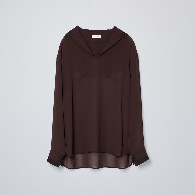 sailor collar shirts / brown
