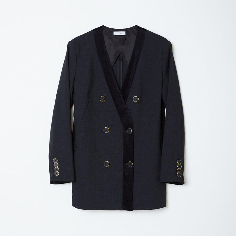 no collar double jacket