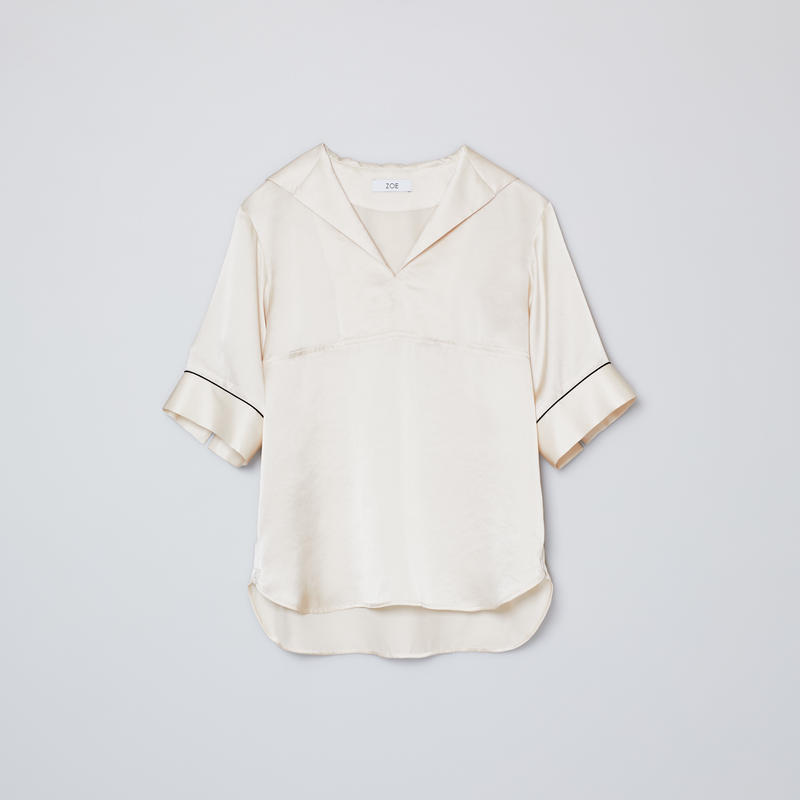 sailor collar short sleeve shirts / beige
