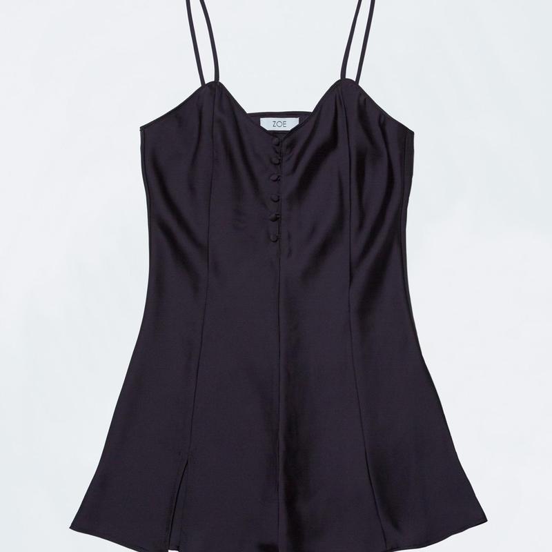 black slip camisole
