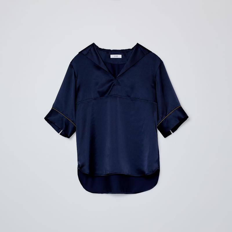 sailor collar short sleeve shirts / navy