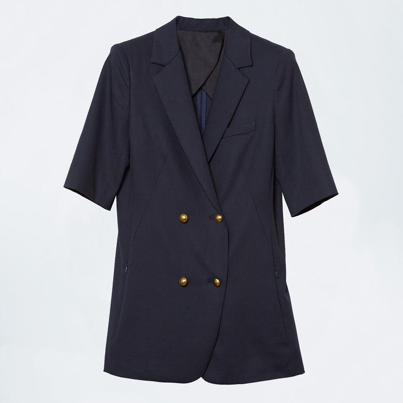 navy short sleeve double jacket