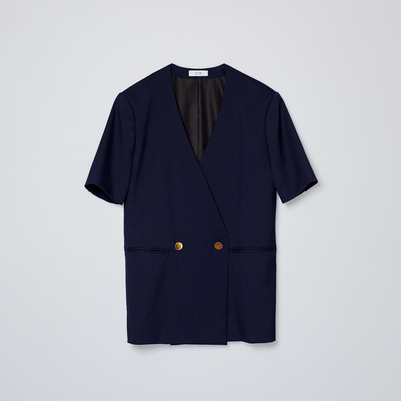 no collar short sleeve jacket