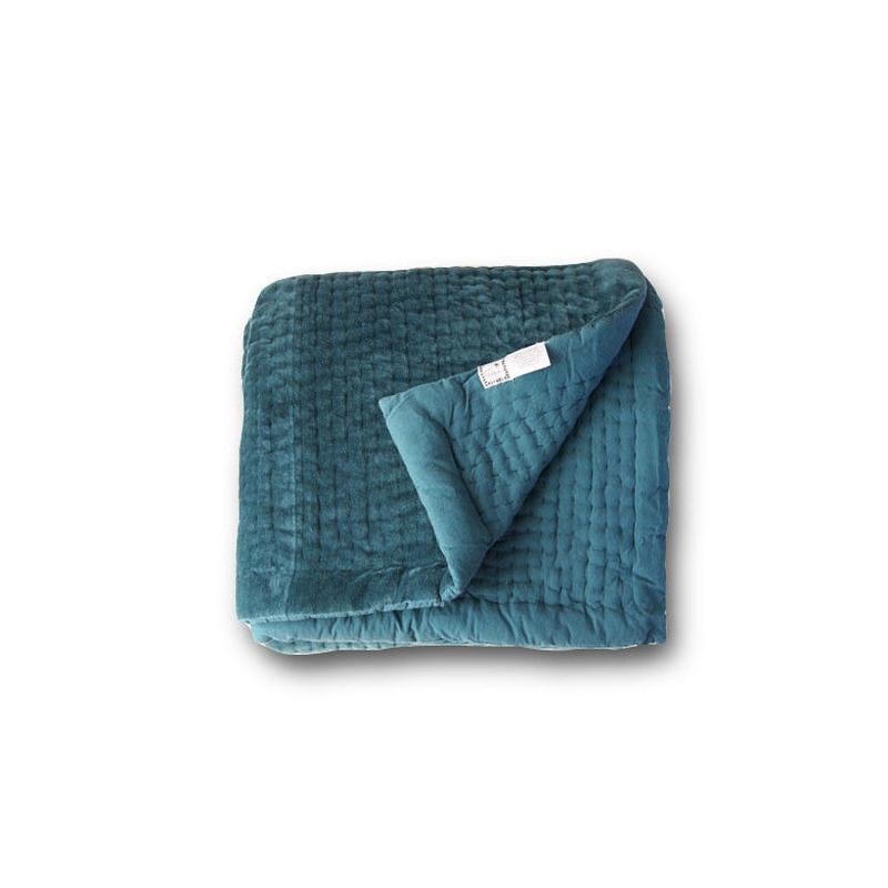en fil d'Indienne マルチキルトカバー Vague Blue 160x160