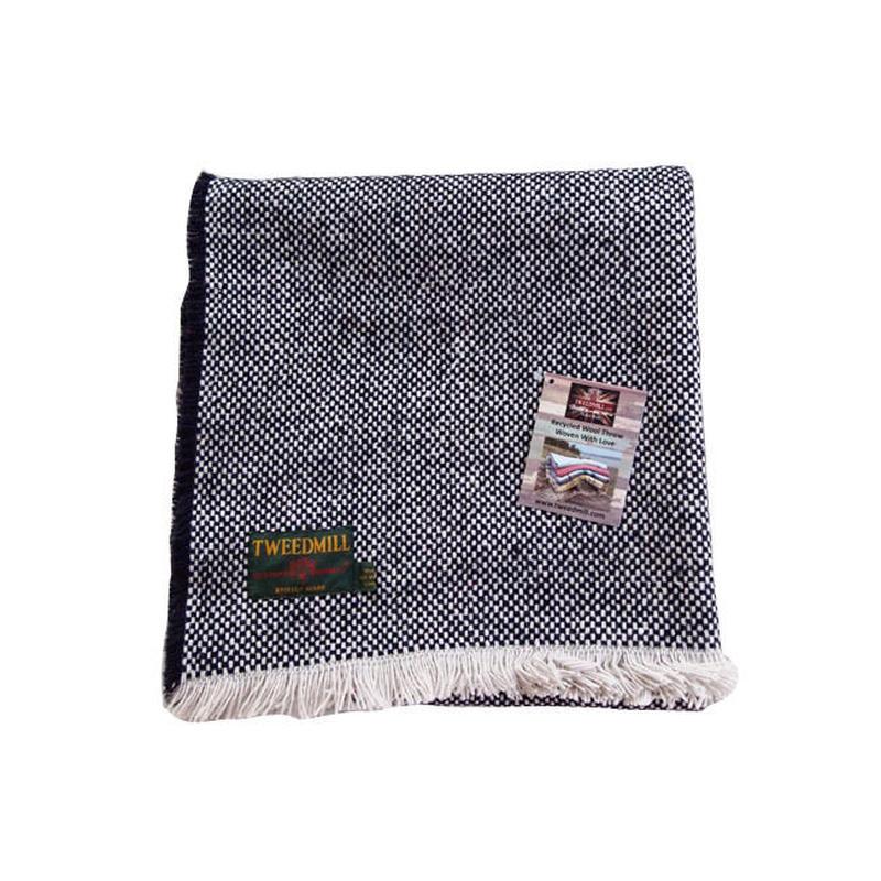 Tweedmill ツイードミル crosshatch check recycle rug 120x150 navy