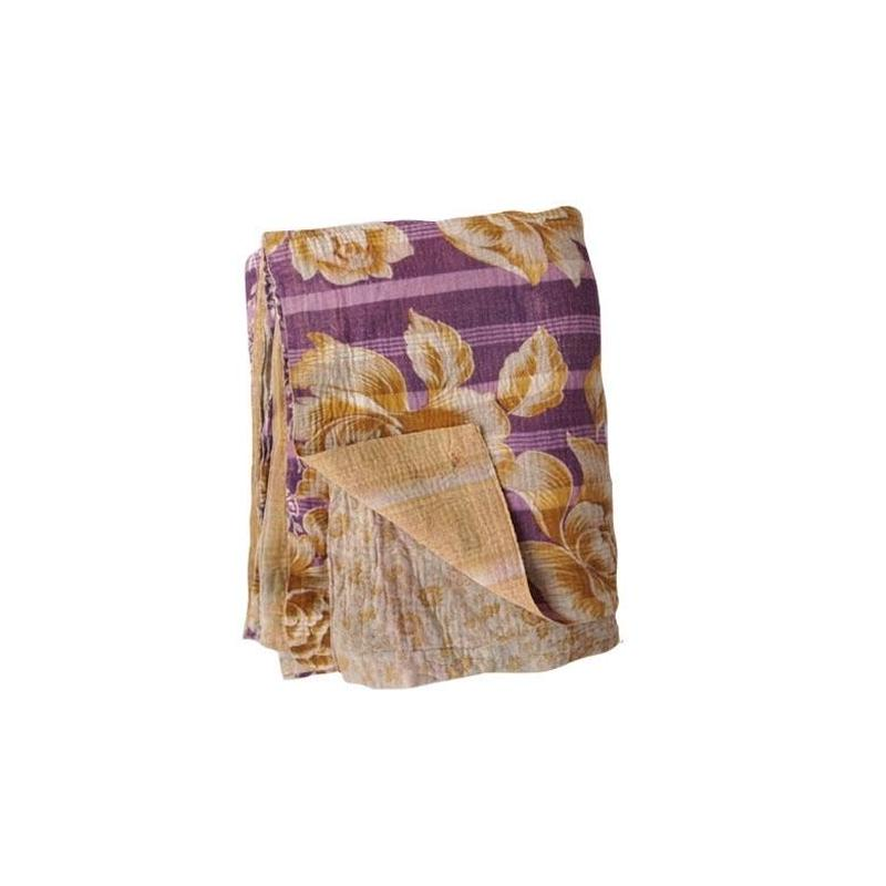 en fil d'Indienne マルチキルトカバー Antique Kantha C150x230
