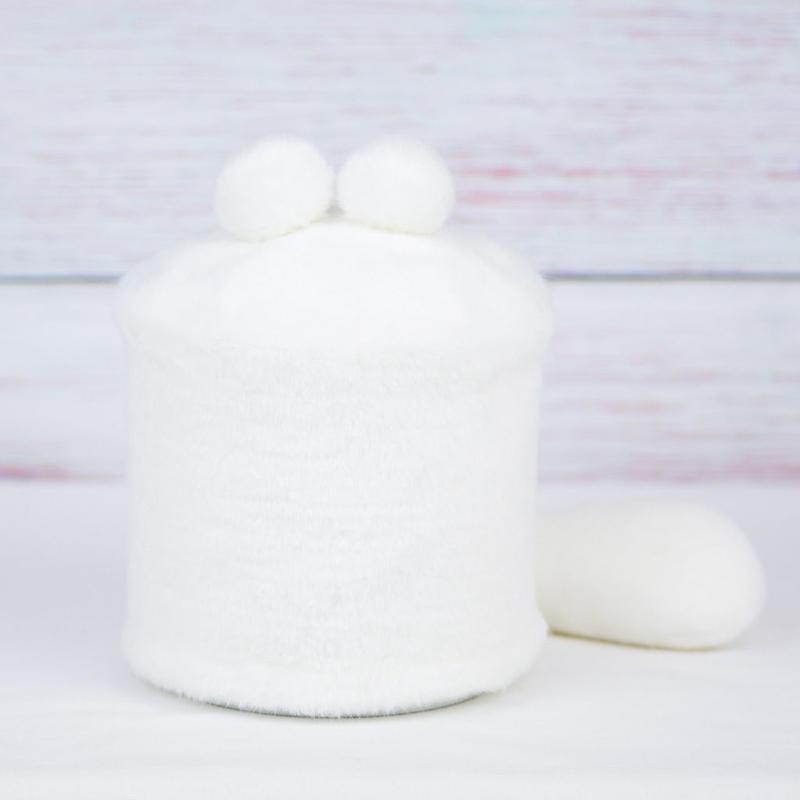 ペット用骨壺カバー / サイズ:4寸 / ベース:白 / ボンボン:白・白 / しっぽ:白(S148)
