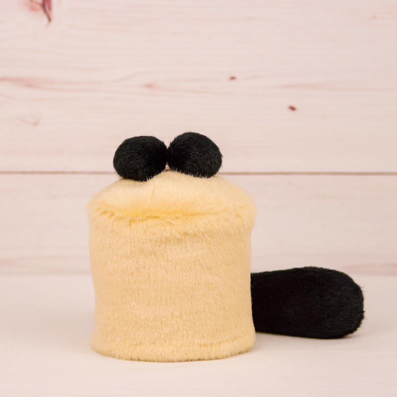 ペット用骨壺カバー / サイズ:3寸 / ベース:クリーム / ボンボン:黒・黒 / しっぽ:黒(S004)