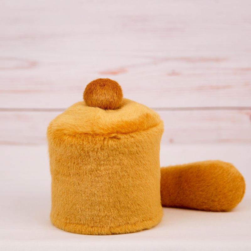 ペット用骨壺カバー / サイズ:3寸 / ベース:ブラウン / ボンボン:ブラウン / しっぽ:ブラウン(S052)