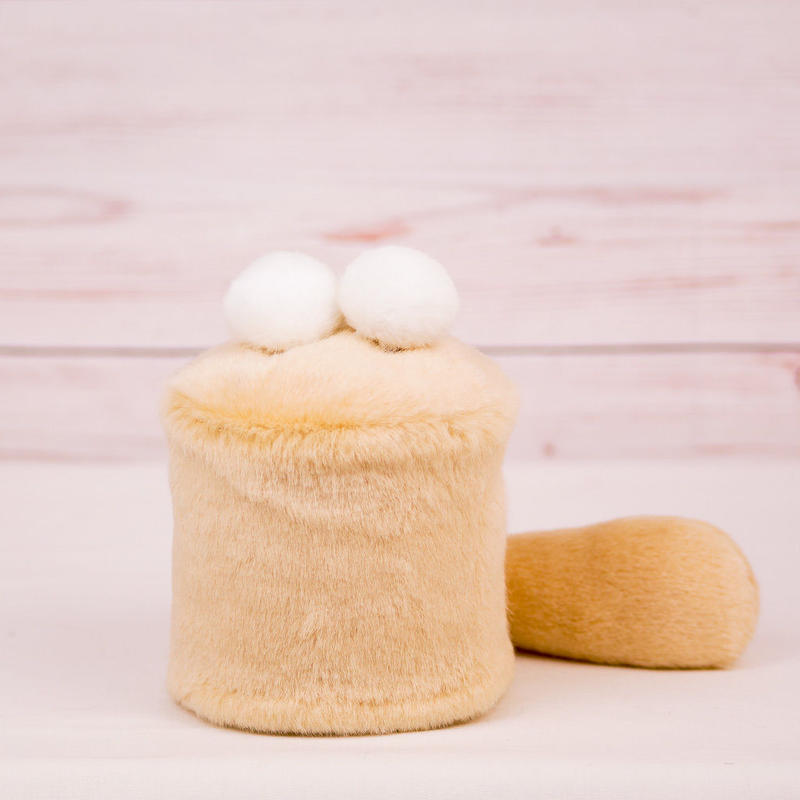 ペット用骨壺カバー / サイズ:3寸 / ベース:クリーム / ボンボン:白・白 / しっぽ:クリーム(S015)