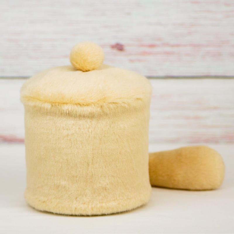 ペット用骨壺カバー / サイズ:4寸 / ベース:クリーム / ボンボン:クリーム / しっぽ:クリーム(S183)