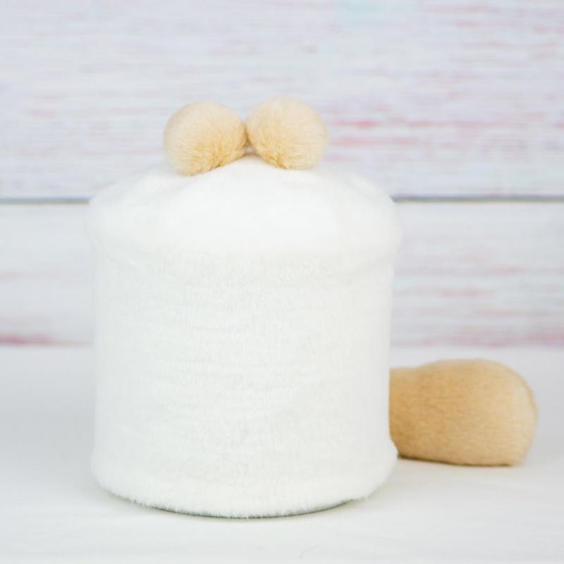 ペット用骨壺カバー / サイズ:4寸 / ベース:白 / ボンボン:クリーム・クリーム / しっぽ:クリーム(S131)