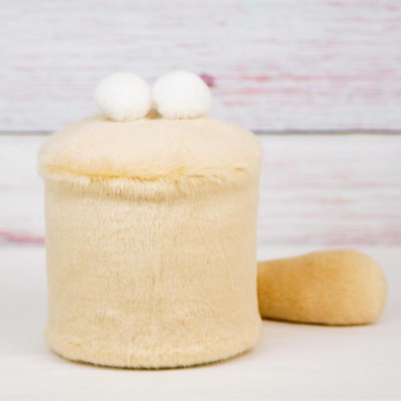 ペット用骨壺カバー / サイズ:4寸 / ベース:クリーム / ボンボン:白・白 / しっぽ:クリーム(S185)
