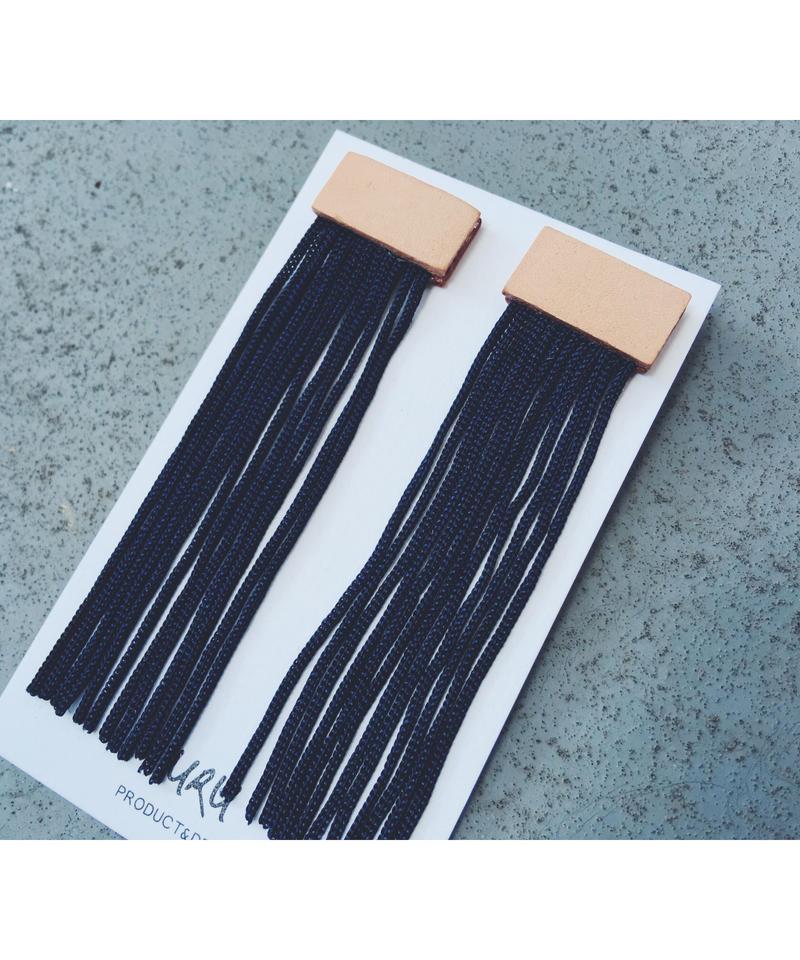 Leather Long Fringe Earrings(navy)