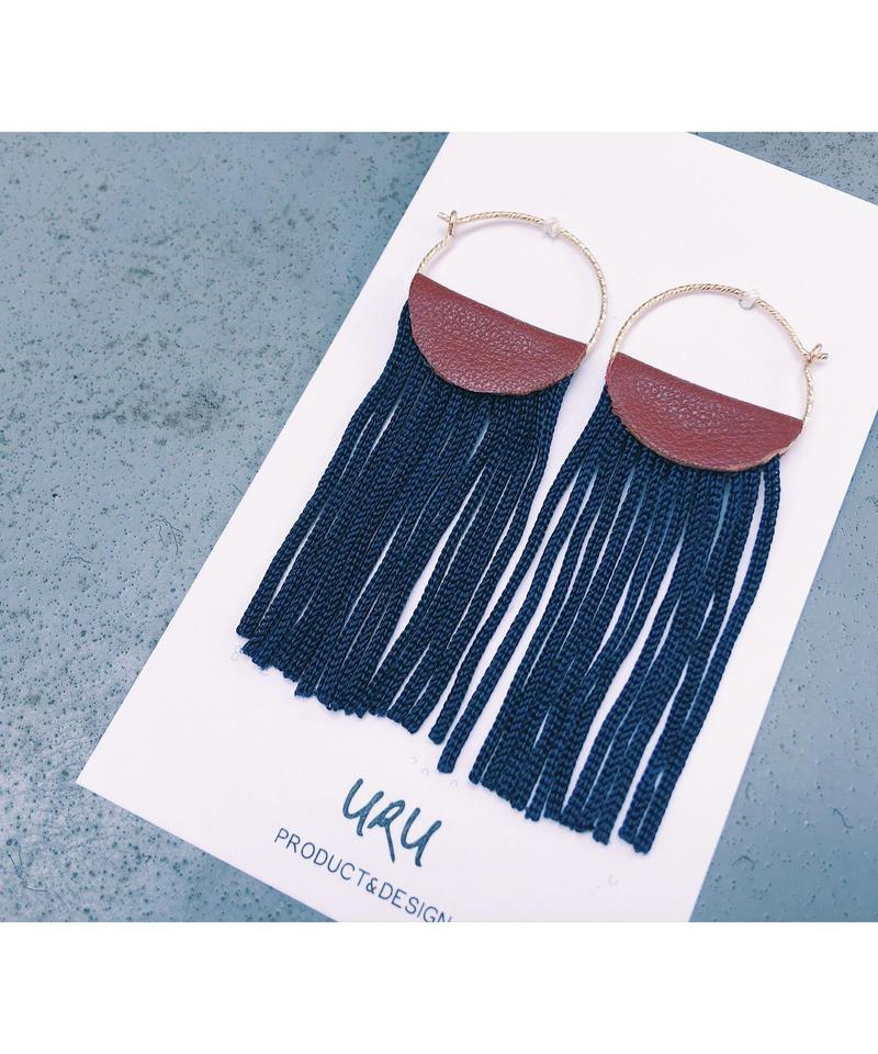 Leather Fringe Hoop Earrings