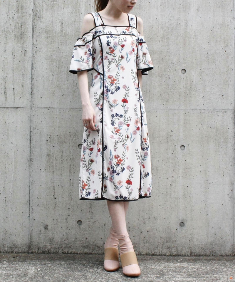 【migration】Off shoulder flower patten one piece / 花柄ワンピース/ mg307