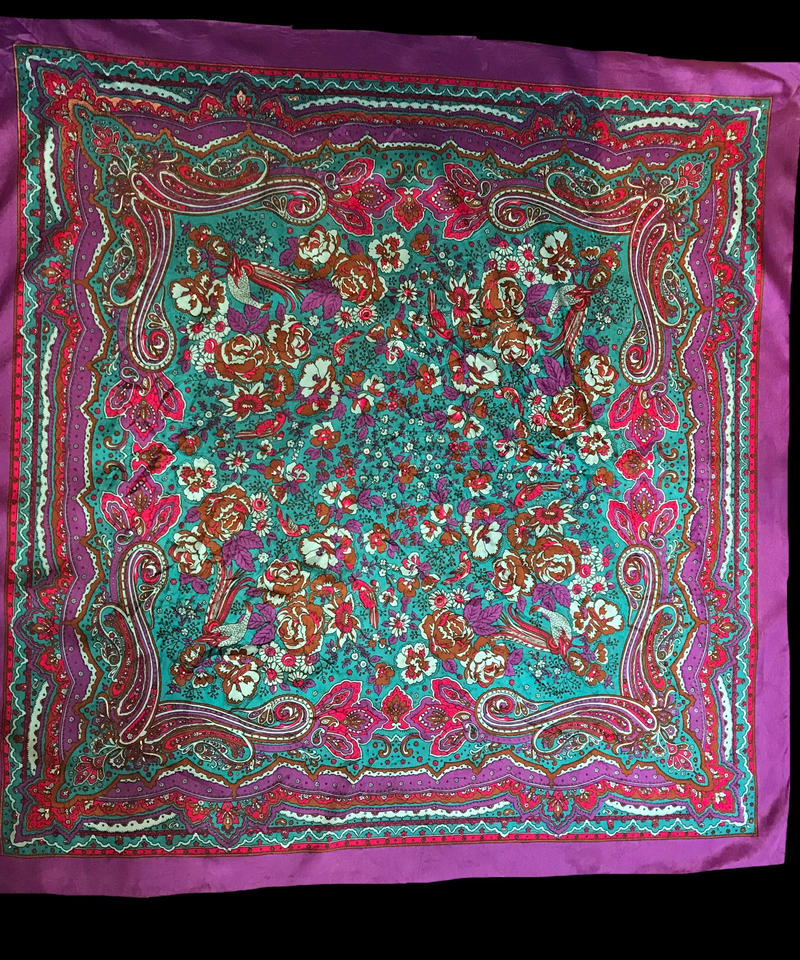 【used】Flower design scarf / 花柄スカーフ紫