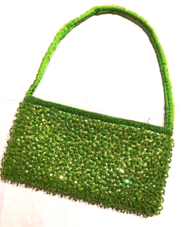【Used】Lime green  beads hand bag / ビーズハンドバッグ